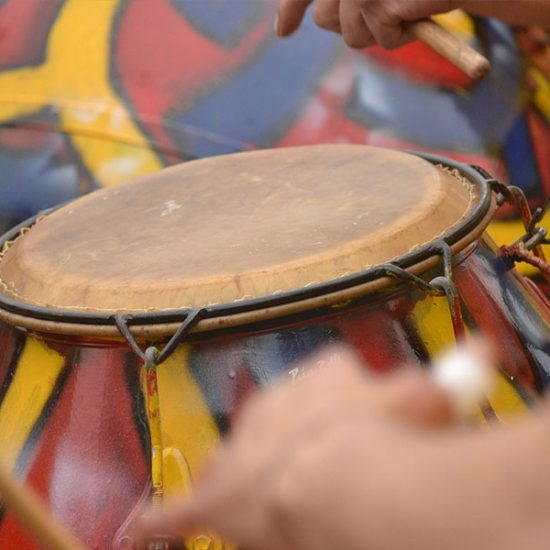 African dinner and drumming - close up of a drum
