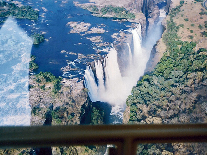 Victoria Falls viewed from a helicopter