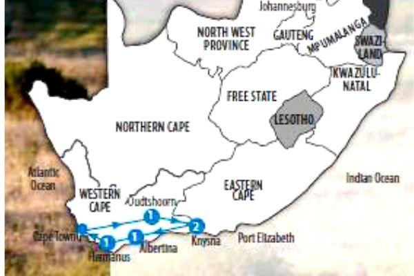 Garden Route Safari and Wine map