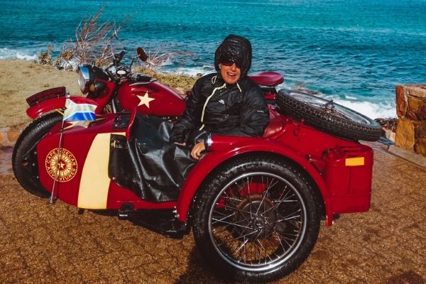 Woman in a sidecar