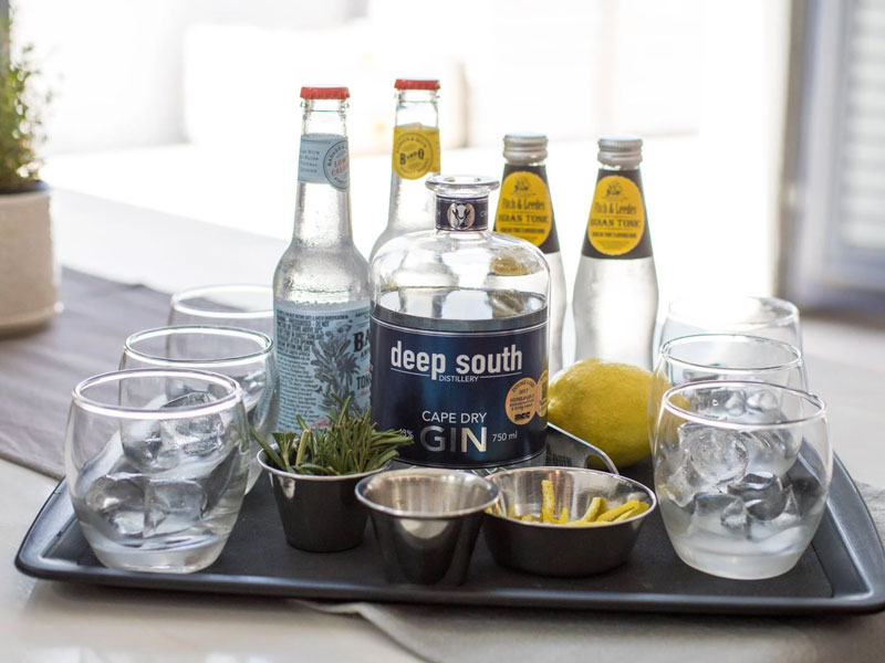 Cape Town Craft Gin Experience - Gin and glasses on a tray